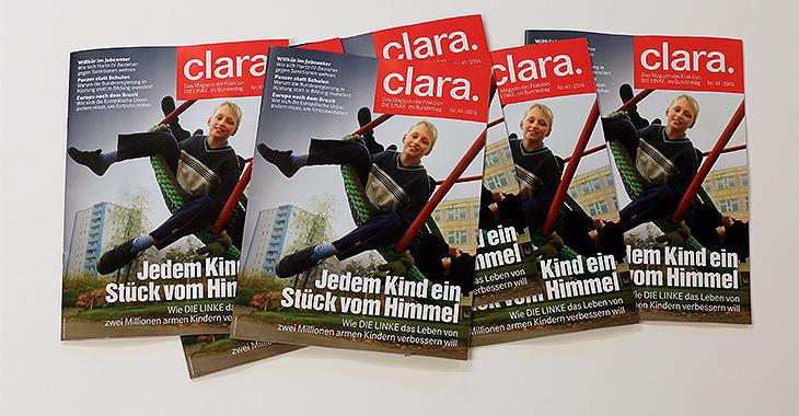 Mehrere Hefte des Fraktionsmagazins clara