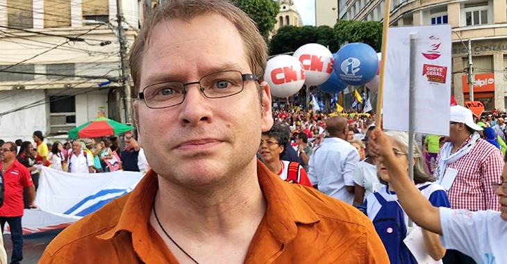 Lorenz Gösta Beutin am 13. März 2018 beim Weltsozialforum in Salvador da Bahia, Brasilien