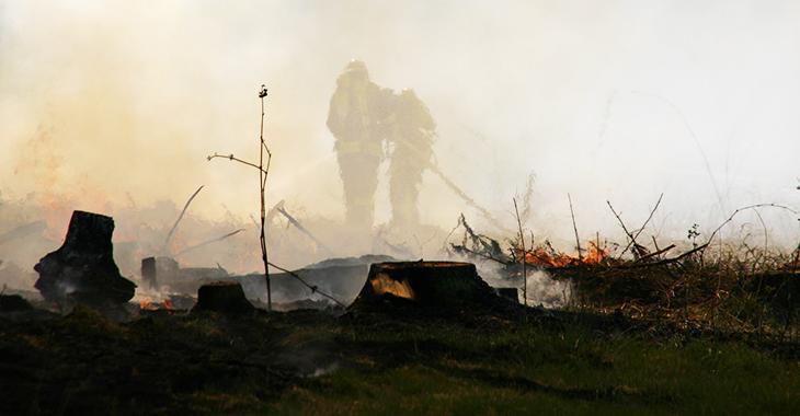 Zwei Feuerwehrleute bei Löscharbeiten in den Rauchschwaden eines Waldbrandes. Foto: Flickr.com/free-skier (CC BY-NC-SA 2.0)