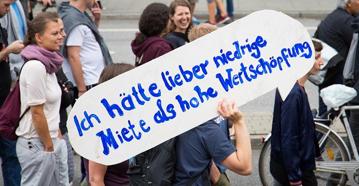 Demo gegen den Mietenwahnsinn. Foto: Flickr/ Rasande Tyskar