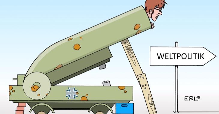 Karikatur: Weltpolitik. AKK in einer Bundeserwehrkanone © picture alliance/dieKLEINERT.de