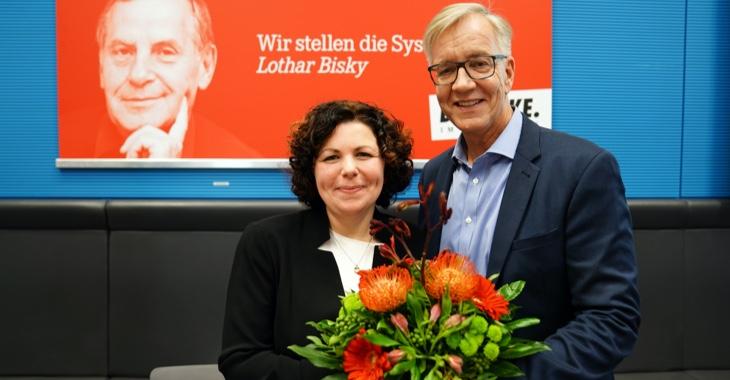 Amira Mohamed Ali und Dietmar Bartsch nach ihrer Wahl zu Fraktionsvorsitzenden der Linksfraktion am 12. November 2019