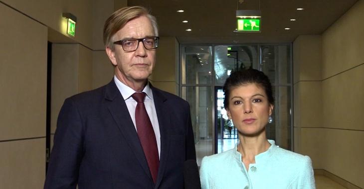 Dietmar Bartsch und Sahra Wagenknecht am 14. März 2018 nach der Wahl von Angela Merkel zu Bundeskanzlerin