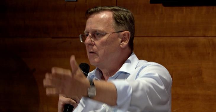 Bodo Ramelow spricht auf der Ostkonferenz der Linksfraktion am 28. August 2019 in Weimar
