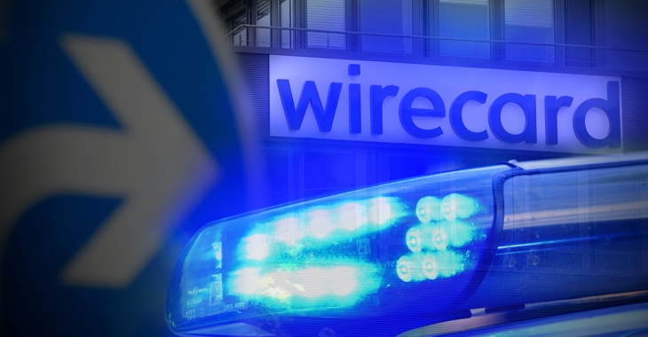 Fotomontage: Blaulicht vor dem Wirecard-Firmenlogo © picture alliance/SvenSimon/FrankHoermann