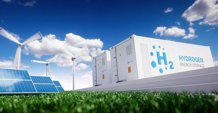 Wasserstoff-Stromspeicher mit Windrädern und Solaranlagen