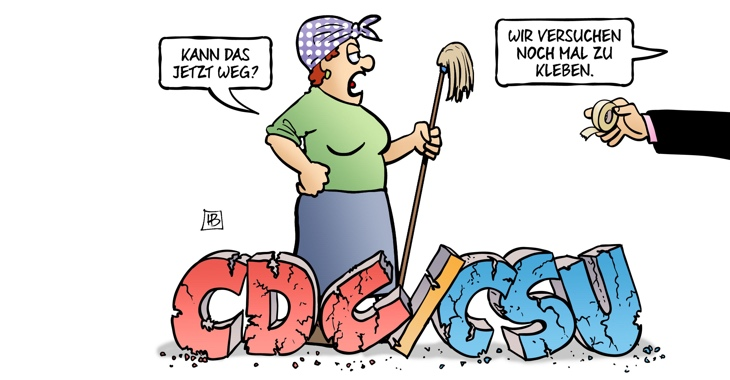 Karikatur: Asylstreit - CDU/CSU-Scherbenhaufen © Harm Bengen