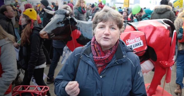 Kirsten Tackmann am 20. Januar 2018 in Berlin bei der Demo »Wir haben es satt«