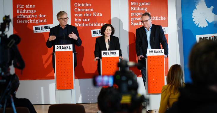 Pressestatement mit Dietmar Bartsch und Amira Mohamed Ali am 10. Januar 2020 nach der Fraktionsklausur in Rheinsberg