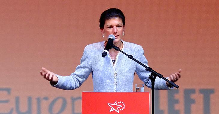Sahra Wagenknecht spricht am 15. Januar 2017 im Berliner Kino Kosmos beim gemeinsamen Jahresauftakt von Europäischer Linken und der Fraktion DIE LINKE. im Bundestag