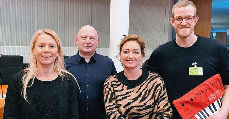 Pamela Schobeß (Clubcommission, Gretchen), Steffen Kache (LiveKomm), Caren Lay (DIE LINKE), Jakob Turtur (Jonny Knüppel) (v.l.)