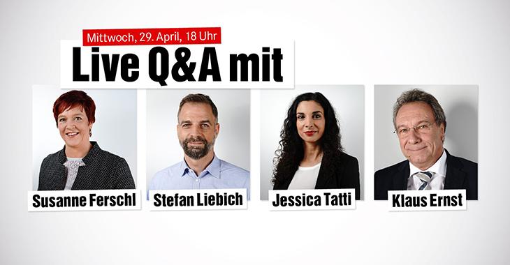 Ankündigung eines Live-Q&As mit Susanne Ferschl, Stefan Liebich, Jessica Tatti und Klaus Ernst
