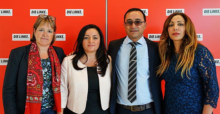 Heike Hänsel, Sevim Dagdelen, Ahmed Sheikho und Helin Evrim Sommer