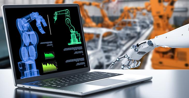 Roboter bedient Computer in einer Fabrik