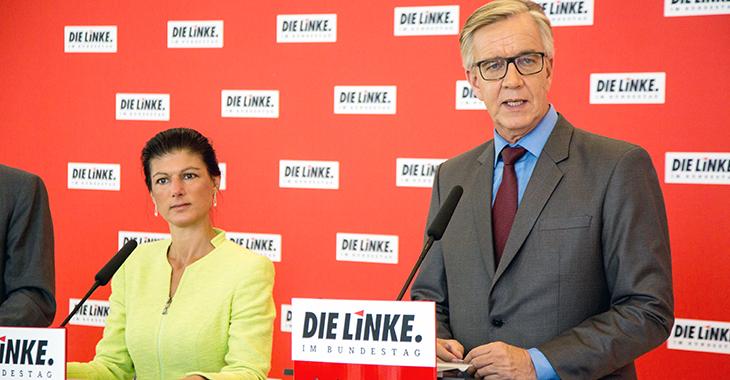 Sahra Wagenknecht und Dietmar Bartsch beim Pressestatement