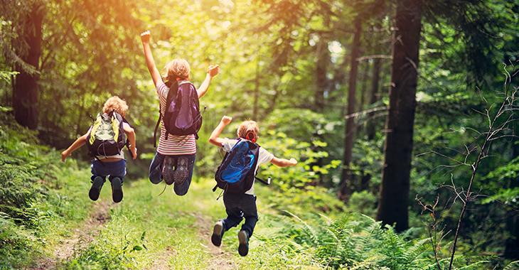 Kinder springen auf einem Waldweg fröhlich in die Höhe | Foto: © istock.com/Imgorthand
