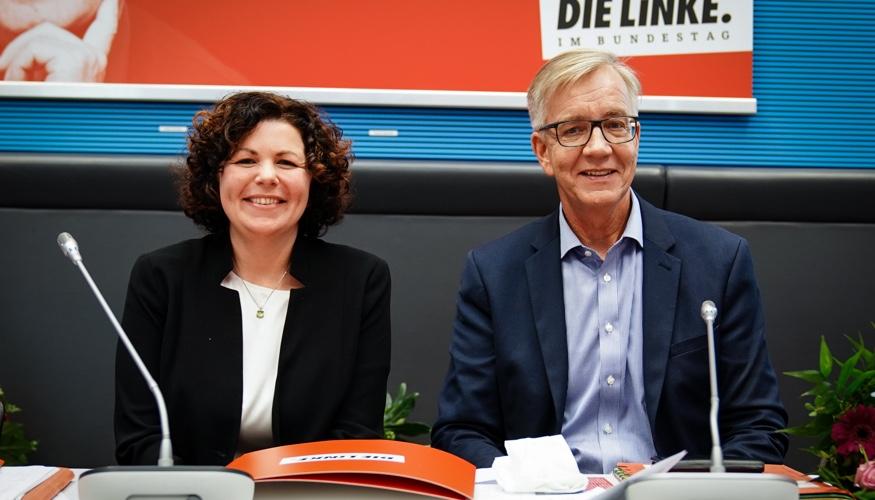 Die Vorsitzenden der Linksfraktion, Amira Mohamed Ali und Dietmar Bartsch