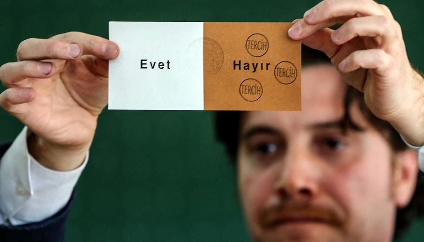 Bei der Stimmauszählung am 16.APril 2017 in einem Wahllokal in Istanbul hält ein Mann einen Stimmzettel, auf dem dreimal Hayir (Nein) gestempelt wurde © picture alliance/abaca