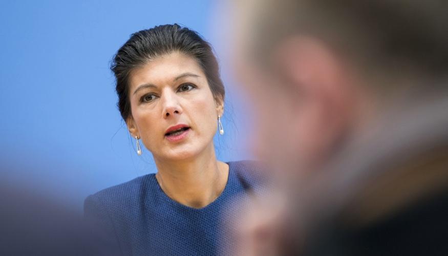 Sahra Wagenknecht in der Bundespressekonferenz © dpa