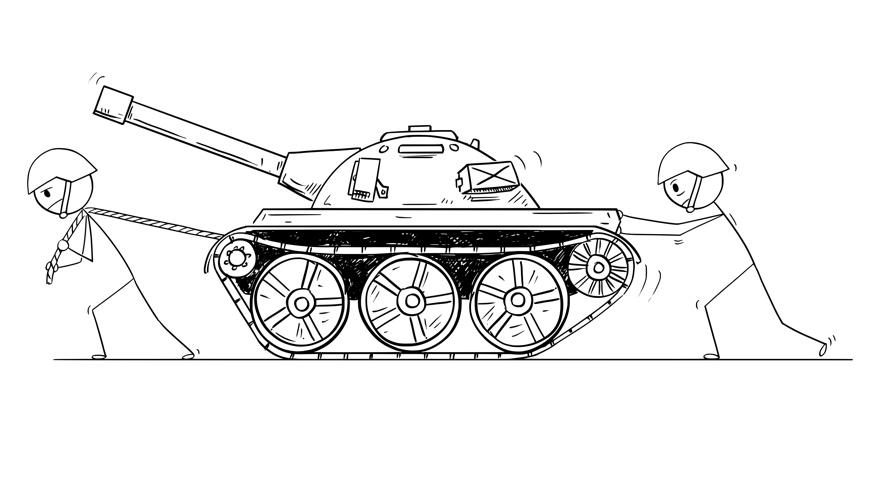 Zeichnung: Zwei Strichmännchen mit Helm ziehen und schieben einen Panzer © Zdenek Sasek