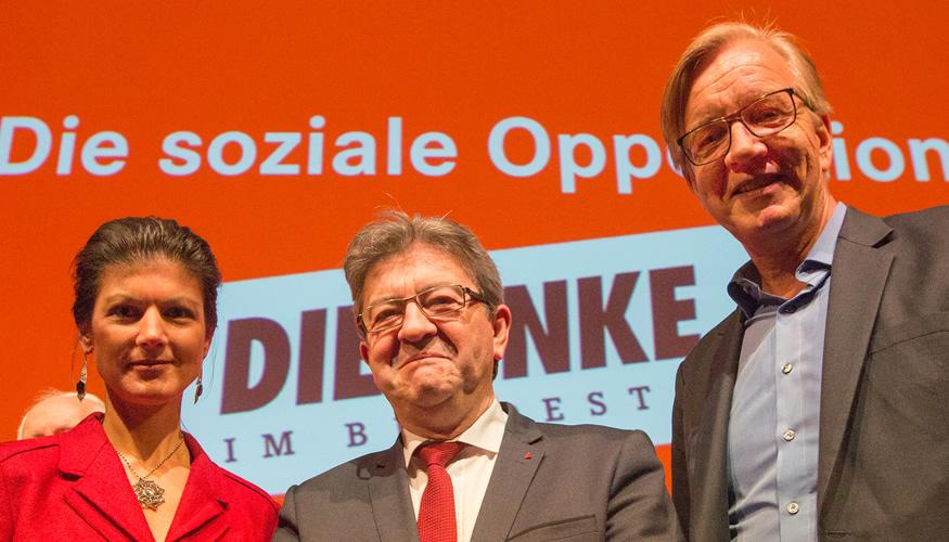 Sahra Wagenknecht, Jean-Luc Mélenchon und Dietmar Bartsch