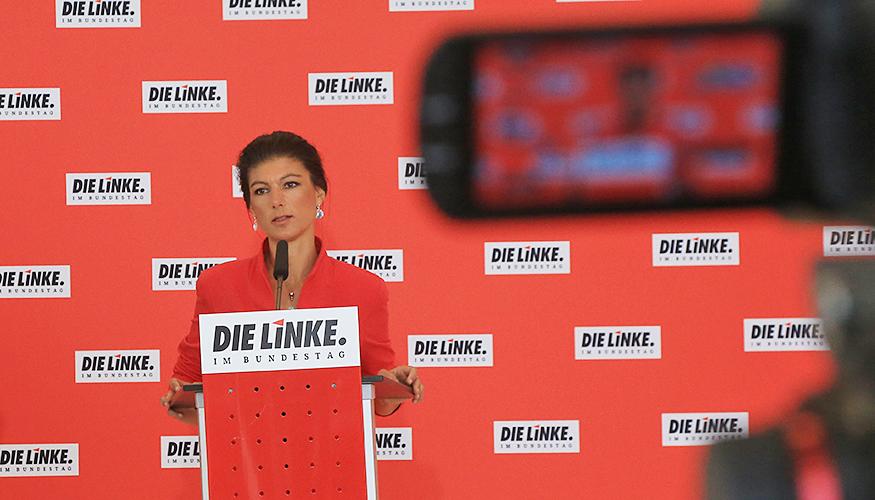 Sahra Wagenknecht beim Pressestatement