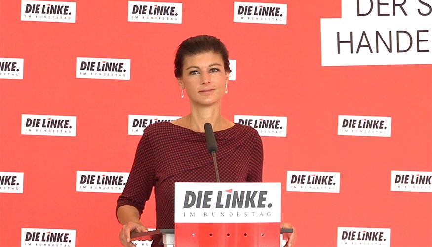 Sahra Wagenknecht beim Pressestatement am 27. Juni 2017